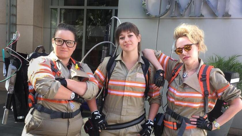 """Three out of four makes a Ghost Buster trio. """"All for one. One for all."""" A weekend of cosplay fun. Photo by Marc Bernardin (Marc Bernardin/Los Angeles Times)"""