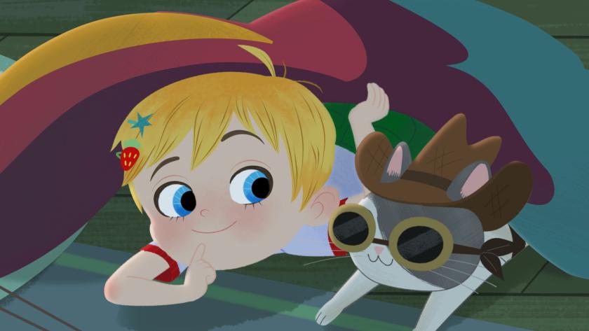 A cartoon girl with a cartoon cat wearing a cowboy hat