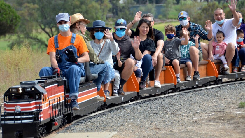 Adults and kids enjoyed first public train rides in 18 months at Fairview Park operated by Orange County Model Engineers.