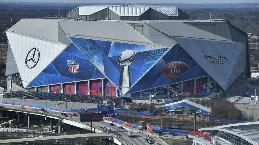The Mercdes-Benz Stadium is seen ahead of the Super Bowl LIII, Wednesday, Jan. 30, 2019, in Atlanta.