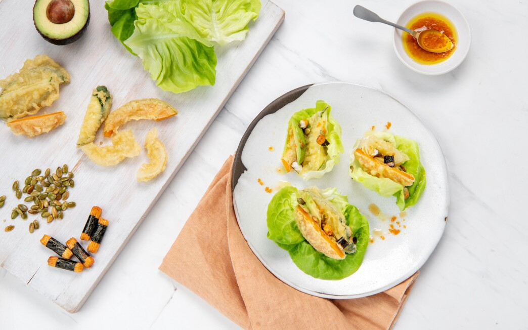 Firecracker Vegetable Tempura Lettuce Wraps