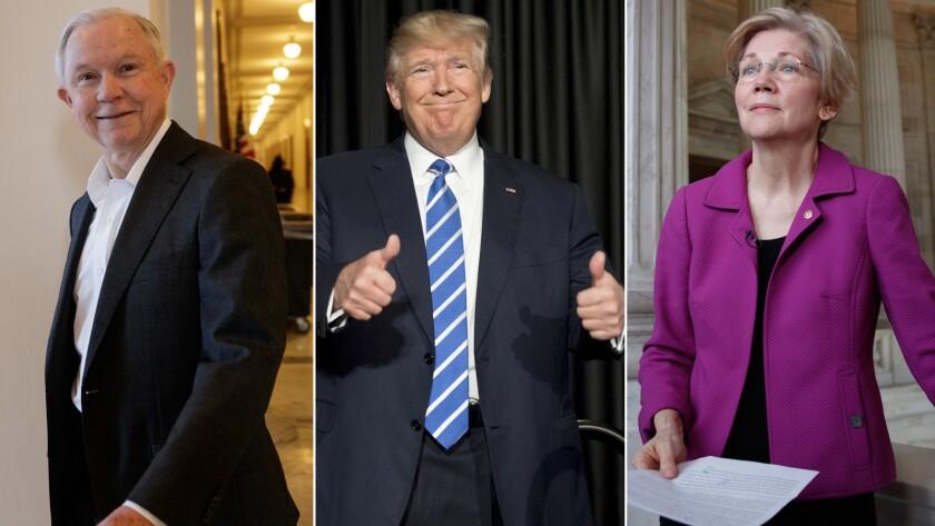 Jeff Sessions, Donald Trump, Elizabeth Warren