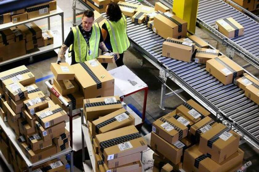Workers at Amazon fulfillment center