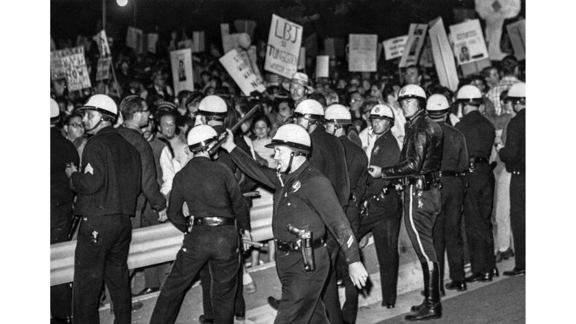 June 23, 1967: Antiwar protesters and police outside Century Plaza Hotel.