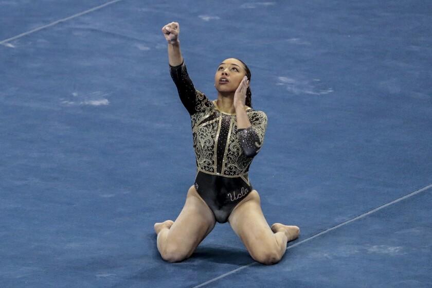 UCLA gymnast Margzetta Frazier competes.