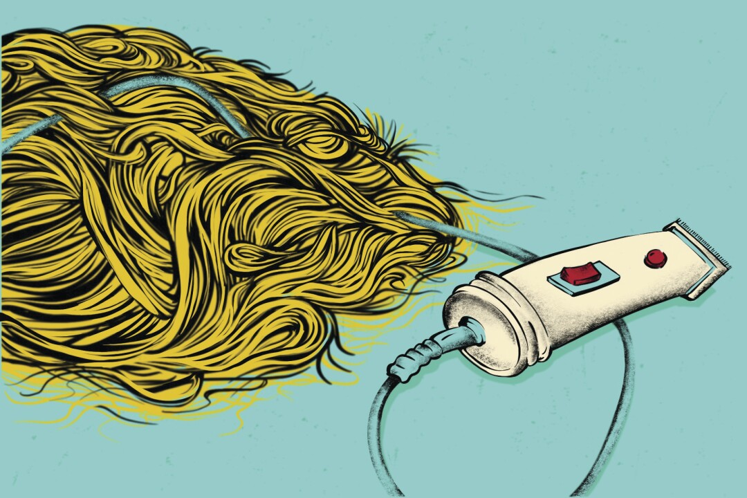 Illustration of razor and clipped hair
