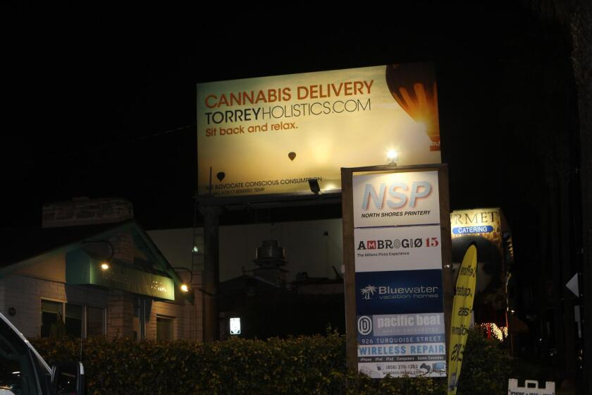 At the Bird Rock Community Council meeting on March 5, a resident questioned whether cannabis billboards like this one, on Turquoise Street near the southern end of Bird Rock, violate current laws.