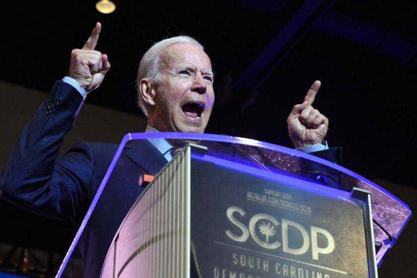 Former Vice President Joe Biden addresses the South Carolina Democratic Party convention, Saturday,