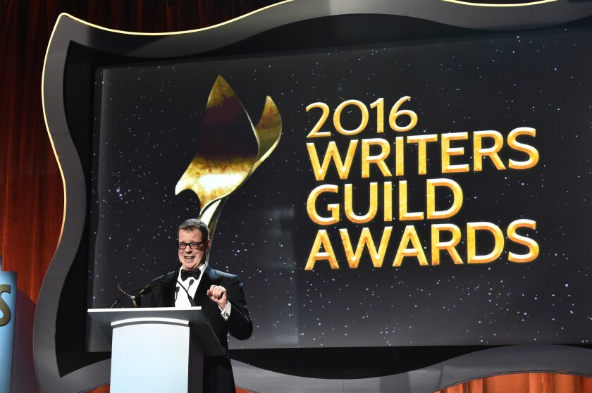 Screenwriter John McNamara accepts the Paul Selvin Award during the 2016 Writers Guild Awards at the Hyatt Regency Century Plaza on Feb. 13, 2016, in Los Angeles.