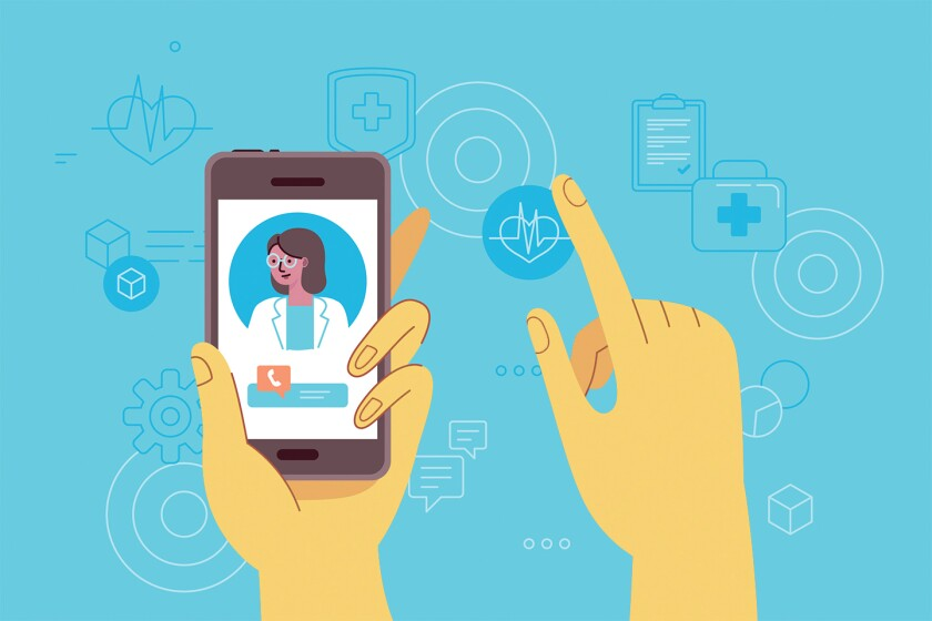 An illustration shows a hand holding a smartphone with a doctor for a video call.