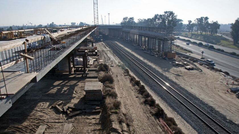 Construction continues on the bullet train's San Joaquin River Viaduct in December 2017.