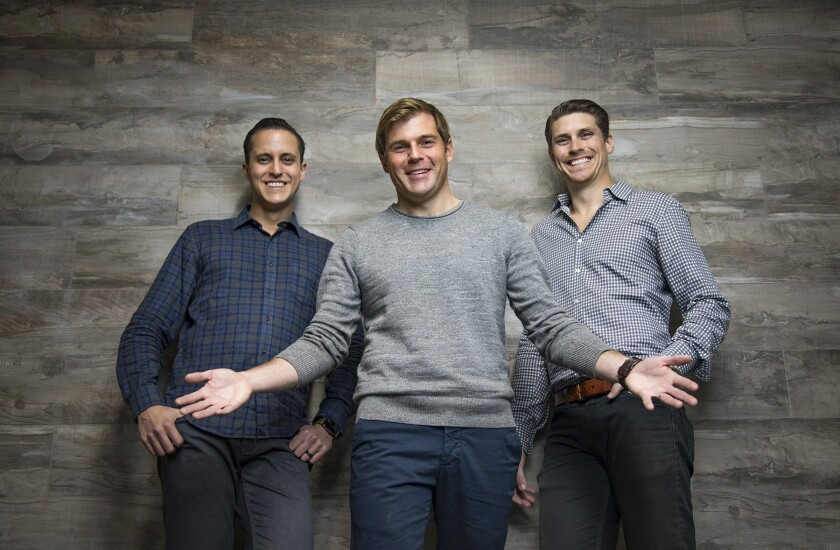 Trust & Will co-founders, Cody Barbo, left, CEO, Brian Lamb, Head of Product, center, and Daniel Goldstein, COO, right.