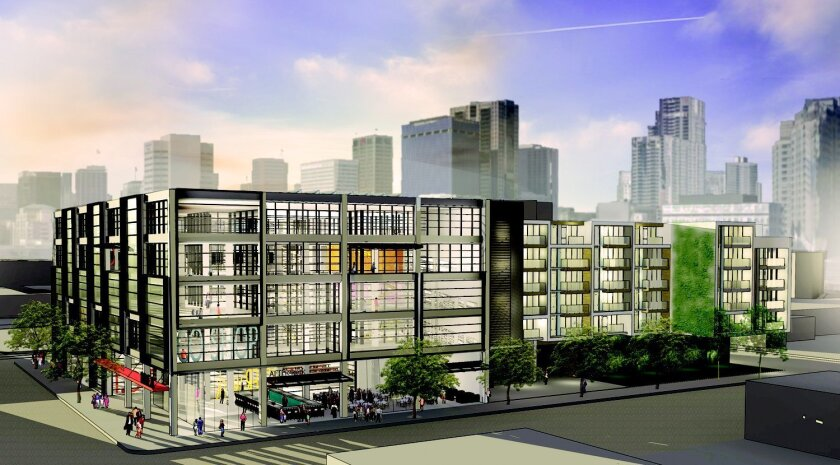 The first I.D.E.A. District building would include 100,000 square feet of high-tech offices and 138 apartments on the block bounded by Park Boulevard and 13th, E and F streets.