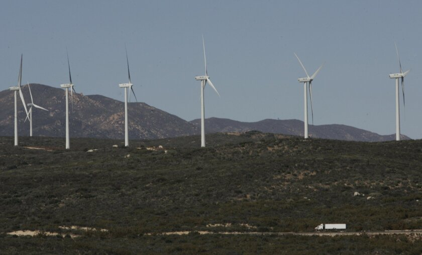 The 25-turbine Kumeyaay Wind farm on the Campo Indian Reservation makes power for SDG&E, which is looking for other wind and solar power to add to its portfolio.
