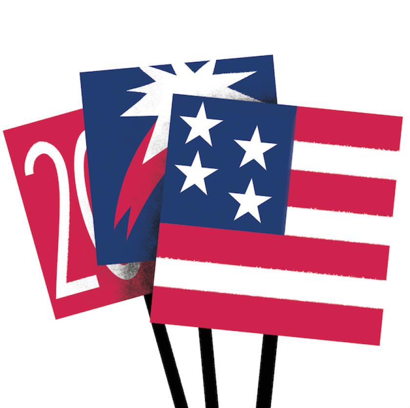 Illustration of stylized, election-related U.S. flags