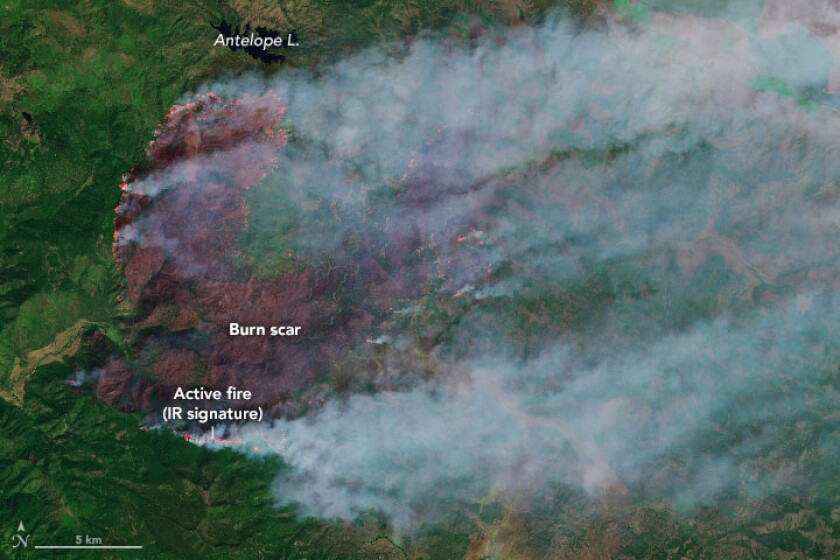 An image of the Walker fire is captured by NASA's Landsat 8 satellite. It was overlaid with false color to emphasize hot spots and burned areas.