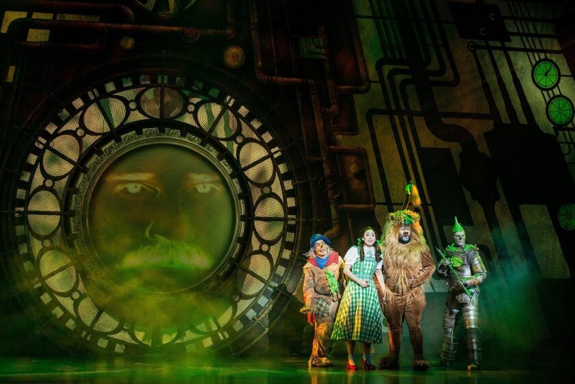 """From left: Morgan Ryenolds as Scarecrow, Sarah Lasko as Dorothy Aaron Fried as Lion, and Jay McGill as Tin Man in the national touring production of the """"Wizard of Oz."""""""