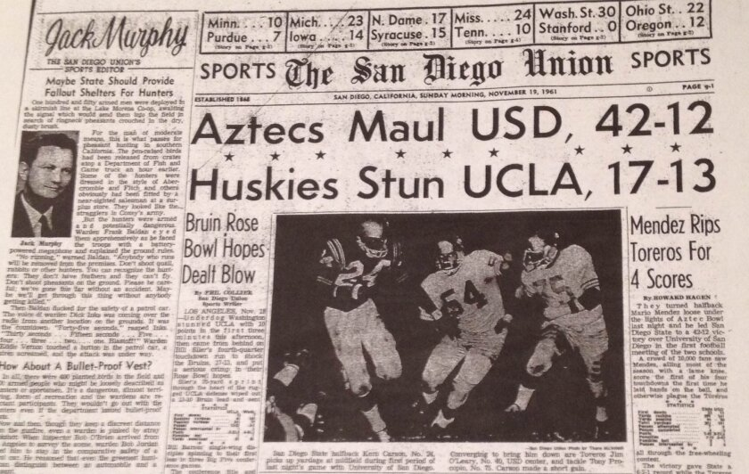The front of sports section after San Diego State beat USD in their first meeting in 1961.