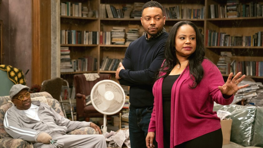 "J. Anthony Brown, left, Na'im Lynn and Courtney Nicole in ""Assisted Living"" on BET."