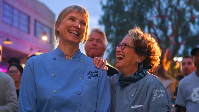 LOS ANGELES, CA - April 30, 2018: Mary Sue Milliken, left, and Susan Feniger of Border Grill share a