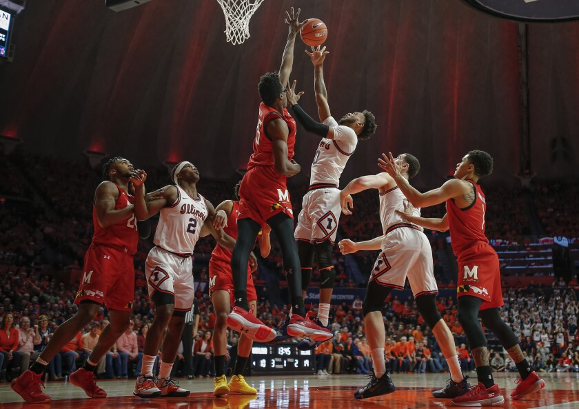 Maryland's Jalen Smith goes up for a block attempt on a shot by Illinois' Alan Griffin on Feb. 7, 2020.