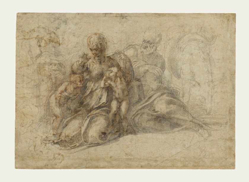 """Michelangelo's drawing """"Holy Family with Saint John the Baptist"""""""