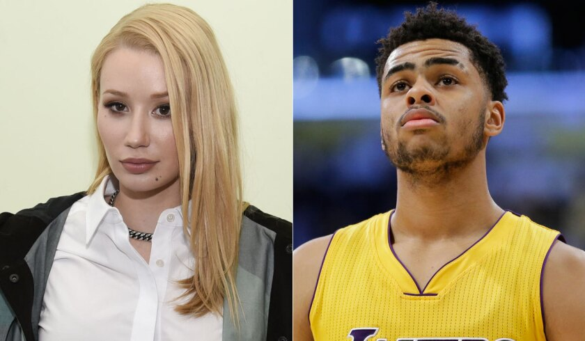 Iggy Azalea, left, took to Twitter after she saw D'Angelo Russell's secret video of her fiance, Nick Young.