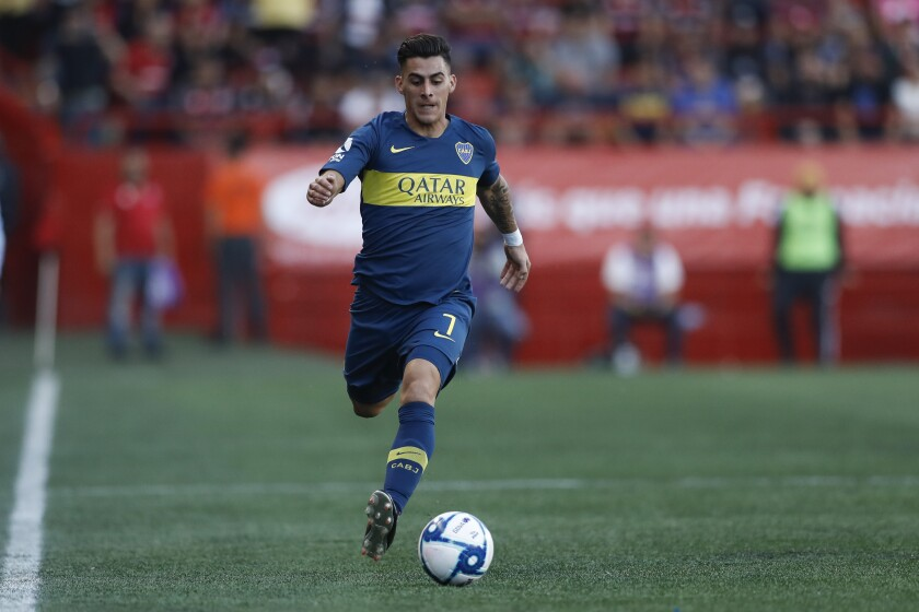 Boca Juniors' Cristian Pavon during the first half of a friendly soccer match against Tijuana on July 10 in Tijuana, Mexico.
