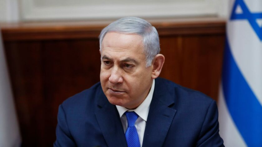 Israeli Prime Minister Benjamin Netanyahu attends a weekly Cabinet meeting in Jerusalem on March 3, 2019.