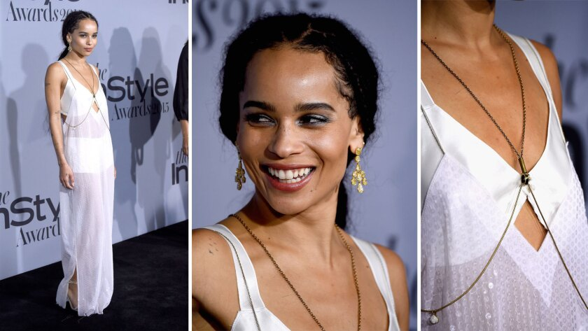 Zoe Kravitz arrives at the InStyle Awards at the Getty Center in Los Angeles.