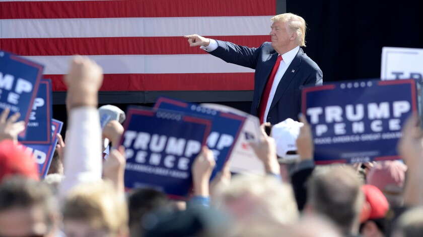 Donald Trump speaks at a rally in Portsmouth, New Hampshire.