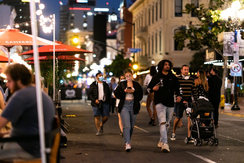 When San Diego's Gaslamp Quarter reopened in June, visitors were inconsistent in wearing face masks