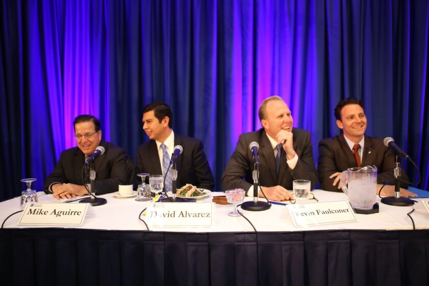 Candidates (from left) Mike Aguirre, David Alvarez, Kevin Faulconer and Nathan Fletcher wait for the start of a mayoral debate sponsored by the SD County Taxpayers Association.