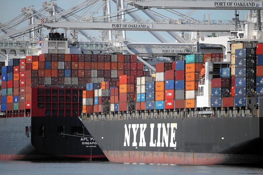 """Container ships are stuck in Oakland after talks stalled over fate of arbitrator. """"It's crazy, and you can quote me,"""" L.A. Mayor Eric Garcetti said."""