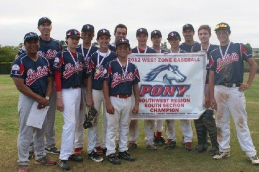 Pony-14 Section Champions (from left): manager Roy Agbulos, coach Tim Scott, Jake Carr, Carter Chopskie, Reed Meyer, Johnny Agbulos, Luke Bucon, Kevin Boermeester, Brandon Nance, Trenton Fudge. Coach Mike Nance, Max Scott and Chris Caulk. Courtesy