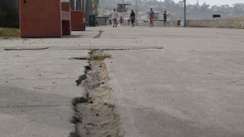 An open crack on the north side of La Vereda boardwalk is filled with sand and small weeds.