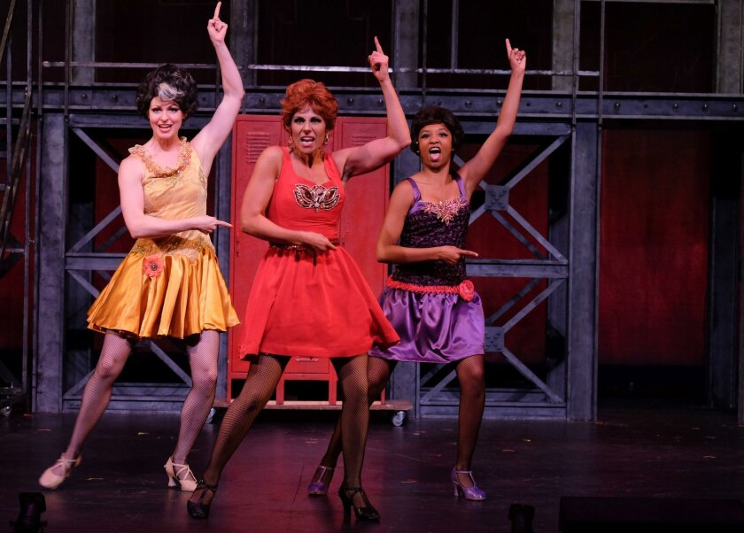 """Adrian Mustain, Natalie Nucci and Justin High (left to right) in the Welk Resorts Theatre's """"Sweet Charity."""""""
