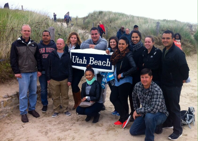 San Diego State class at Utah Beach, one of the American landing zones on D-Day.