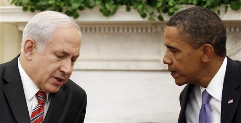 President Barack Obama meets with Israeli Prime Minister Benjamin Netanyahu, in the Oval Office of the White House in Washington, Wednesday, Sept. 1, 2010. (AP Photo/Pablo Martinez Monsivais)