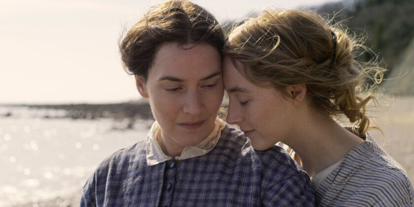 """Kate Winslet and Saoirse Ronan in the movie """"Ammonite."""""""