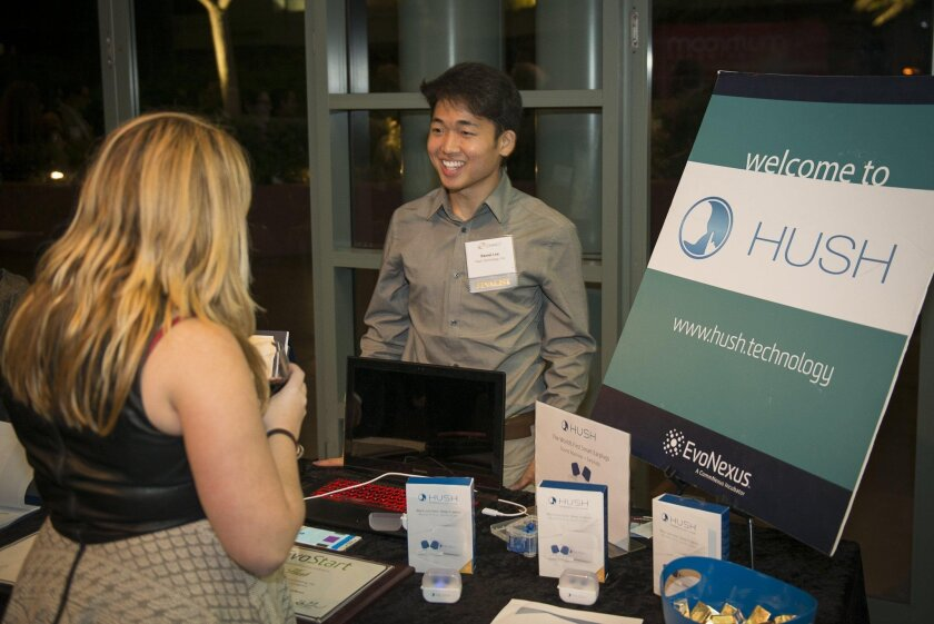 Daniel Lee, CEO and co-founder of Hush Technology, explains the company's smart earplugs at Connect Most Innovative Product awards event earlier this week.