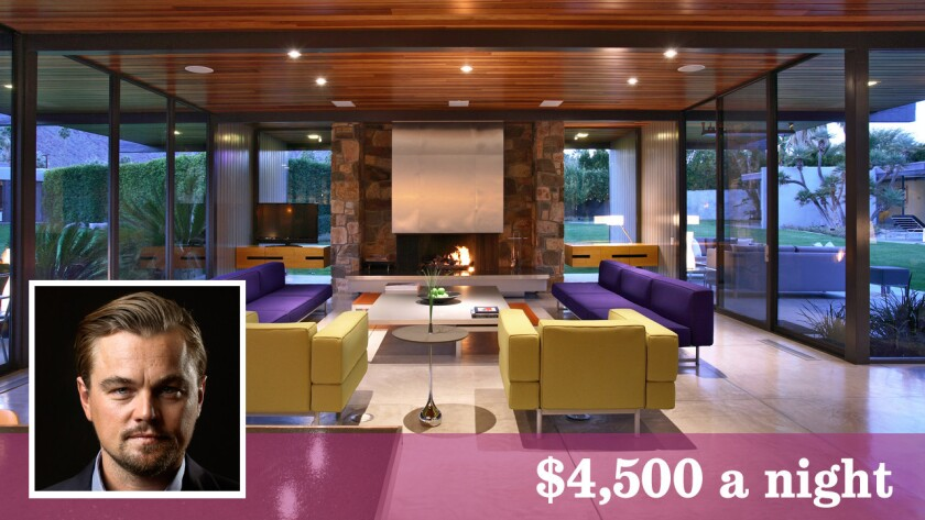 The famed Dinah Shore estate in Palm Springs, owned by Leonardo DiCaprio, is available by the night at $4,500, two night minimum.