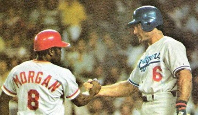 Cincinnati's Joe Morgan is congratulated by the Dodgers' Steve Garvey after Morgan's home run leading off the 1977 All-Star Game at Yankee Stadium.