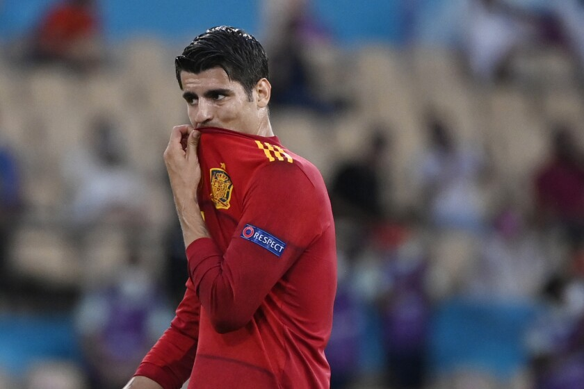 Spain's Alvaro Morata gestures during the Euro 2020 soccer championship group E match between Spain and Sweden at La Cartuja stadium in Seville, Monday, June 14, 2021. (AP Photo/Pierre Philippe Marcou, Pool)