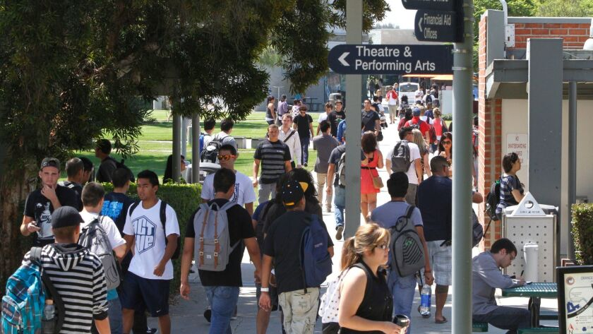 Students walk between classes at Orange Coast Community College on the morning of September 10, 2012.