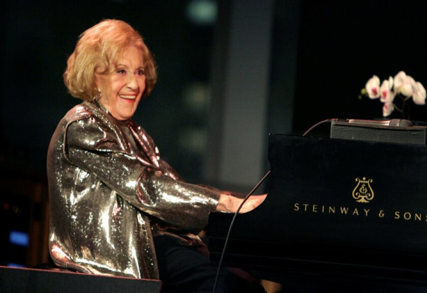 """Marian McPartland performs during a celebration of her 90th birthday in New York in 2008. McPartland, 95, the legendary jazz pianist and host of the National Public Radio show """"Piano Jazz,"""" died of natural causes Tuesday at her home on Long Island."""