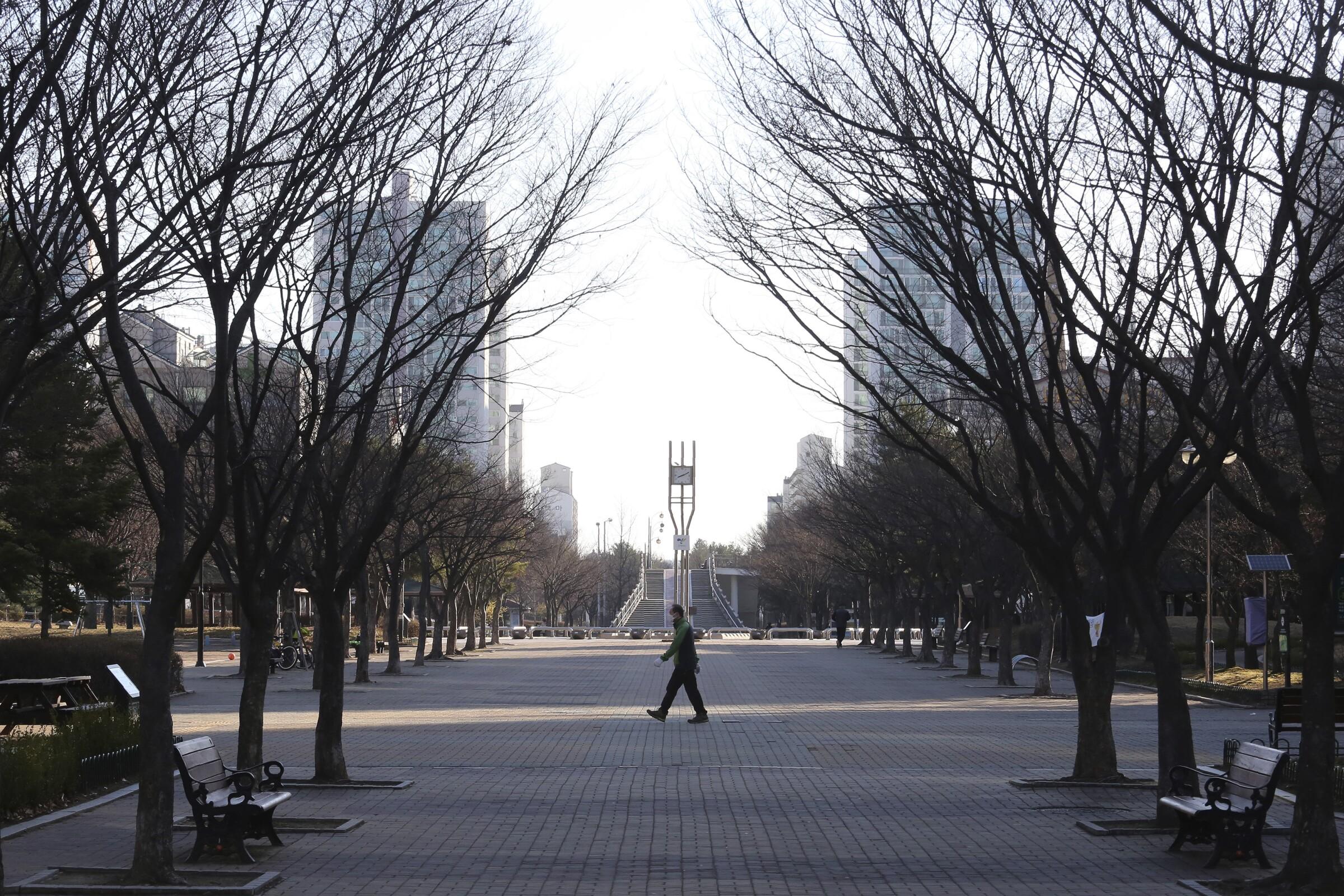A man walks in a nearly empty park in South Korea