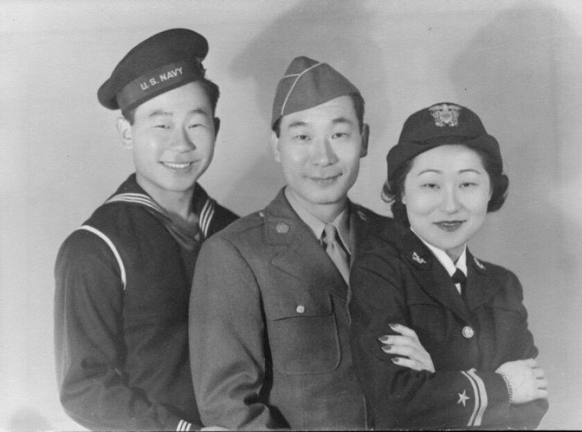 "Korean American actors Ralph and Philip Ahn (middle) and their sister Susan Anh Cuddy, the first female gunnery officer to serve in the U.S. Navy, are among the diverse Asian Americans featured in PBS' five-part series ""Asian Americans."""