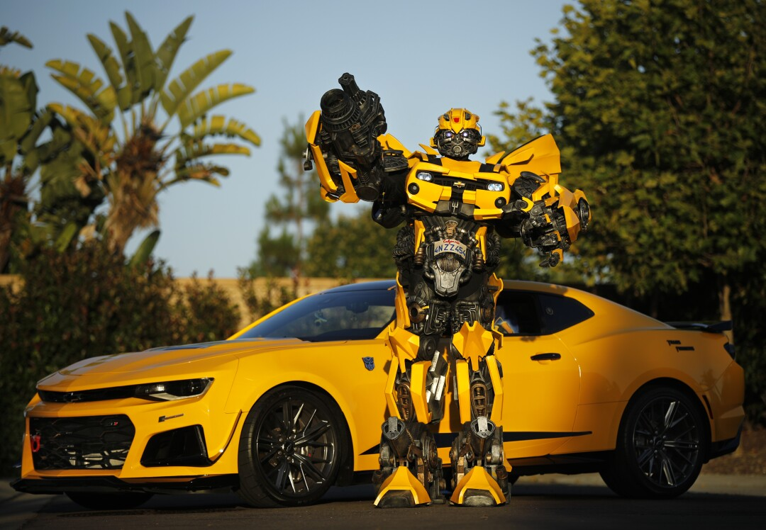 "Justin Wu wears his B-127 costume, also known as Bumblebee from the ""Transformer"" series"