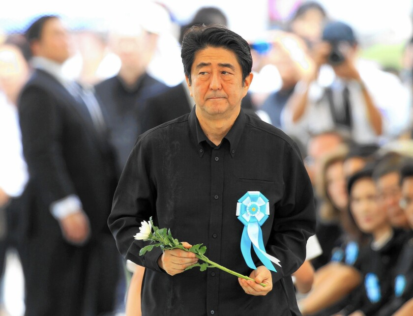 Japanese Prime Minister Shinzo Abe at Okinawa memorial